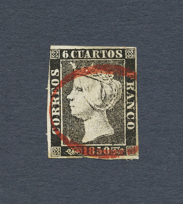 Spain 1850 - Isabel II of Red cero stamp from Vigo. Certificate of Graus. - Edifil 1
