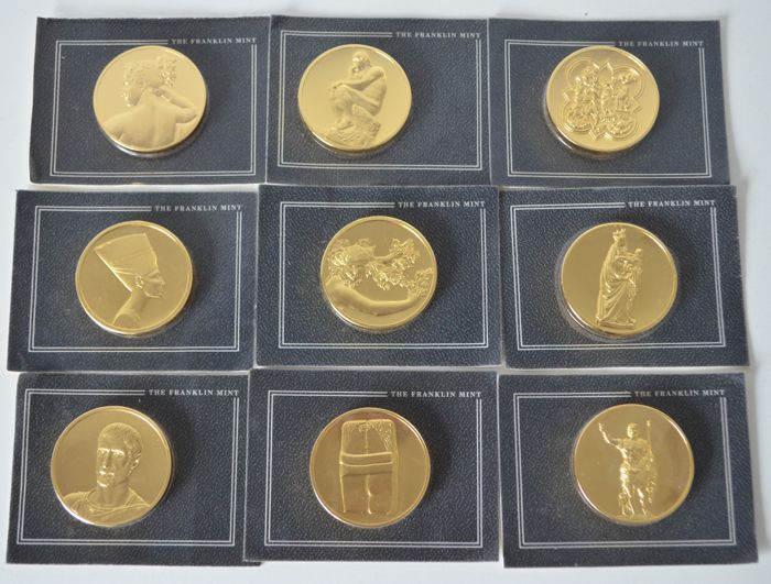 United States - 9 grote munten goldplated brons 1985/1986