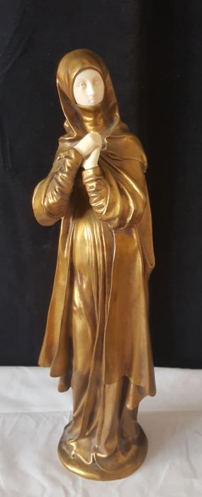 Giovane Donna - Art Nouveau bronze and ivory sculpture