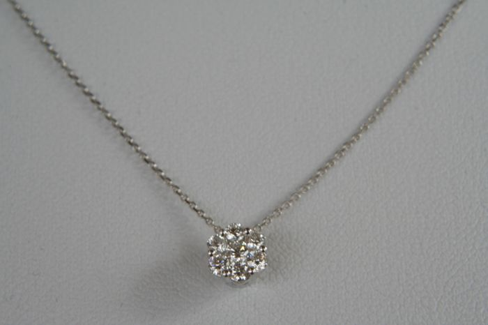 750 white gold necklace with brilliants 0.28 ct Top Wesselton, clarity: VVS diamond, no reserve price