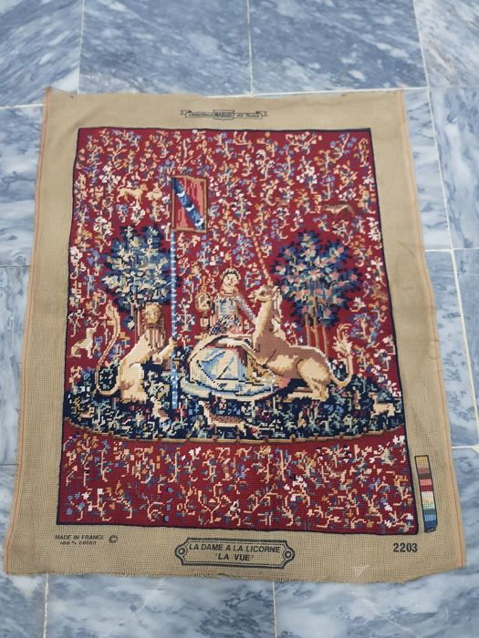 Vintage pictorial tapestry , France  hand made 76 cm x 63 cm