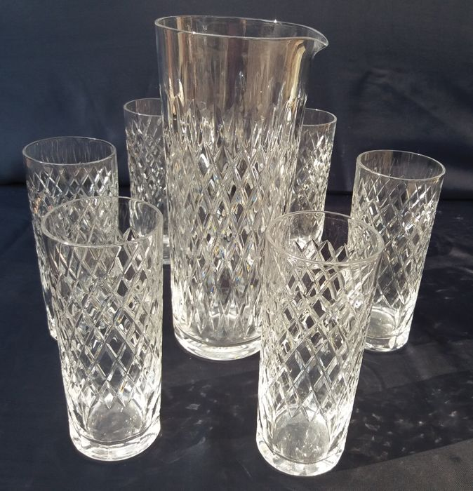 Saint Louis Adour T. No 552 - Excellent set with jug and glasses, 7 pieces in cut crystal
