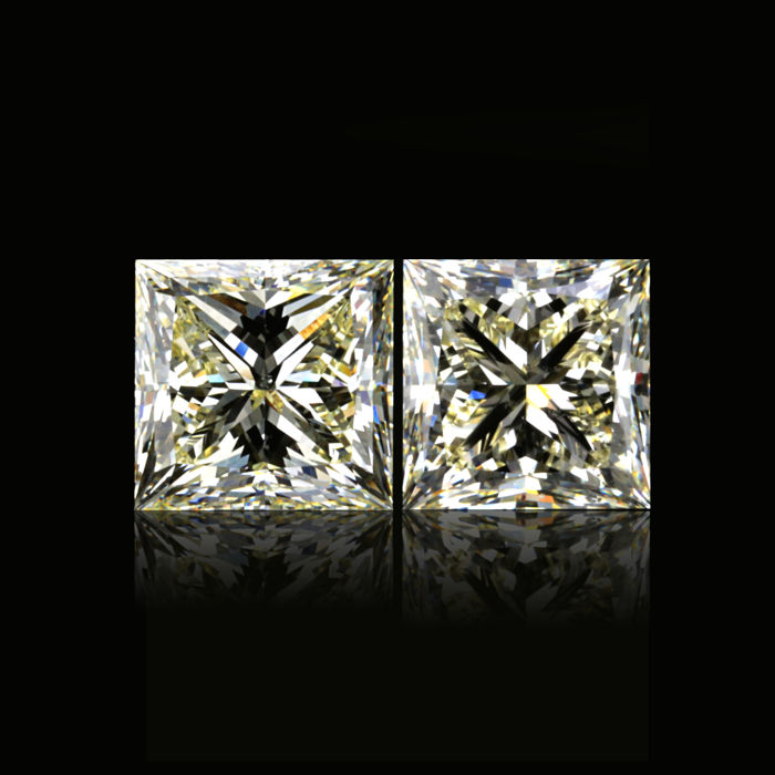 Perfect Matching 4.39 ct. Pair of Natural Color Princess Cut Diamond, GIA Certified