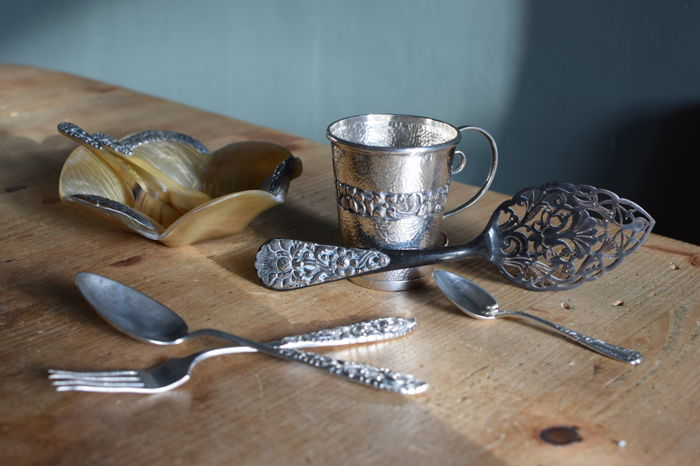 Art nouveau silver cup, bowl and cake server finished with silver