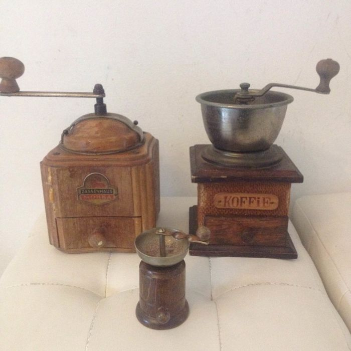 Three antique coffee grinders including one from Zassenhaus
