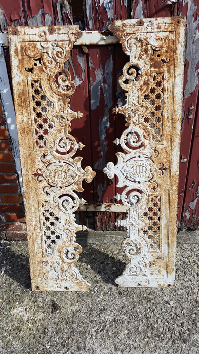 Two old brocante French cast-iron window frames, balcony frames