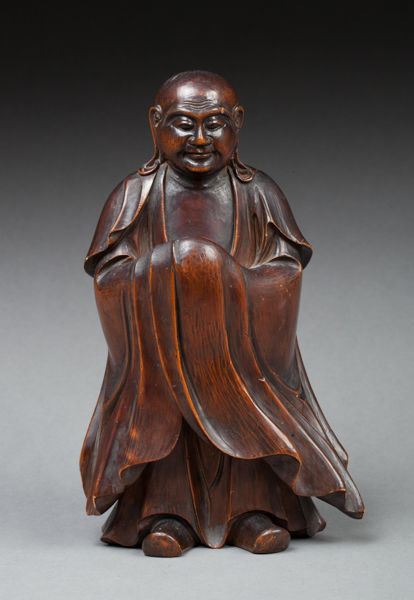 Superb patinated wooden Luohan/Arhat - Japan - late 19th century