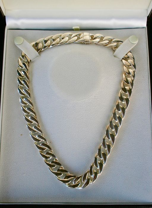Choker necklace in 925 silver with curb chain links - France - New