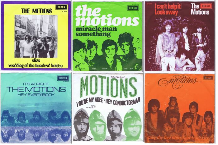 "THE MOTIONS - lot of 6 original 7"" 45RPM singles w. PS (1968-1969) Nederbeat made in Holland"