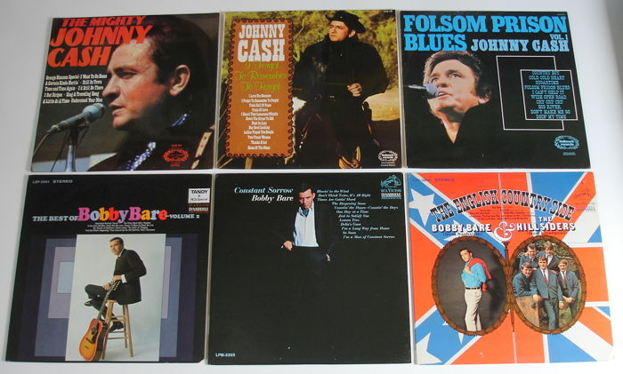6x LP Country Records from the 1960's & 1970's original pressings from the USA & UK - Johnny Cash, Bobby Bare, Bobby Bare & The Hillsiders