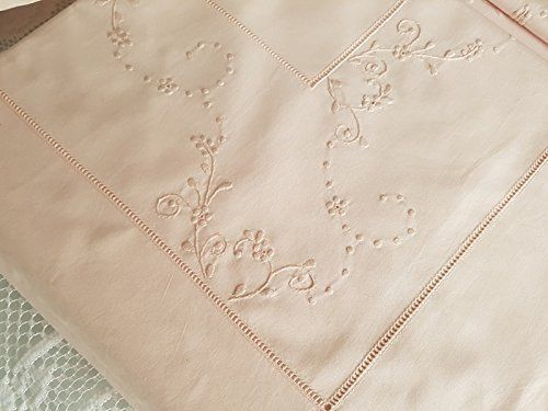 Rich pure percale cotton sheet with handmade satin stitch embroidery and silk thread