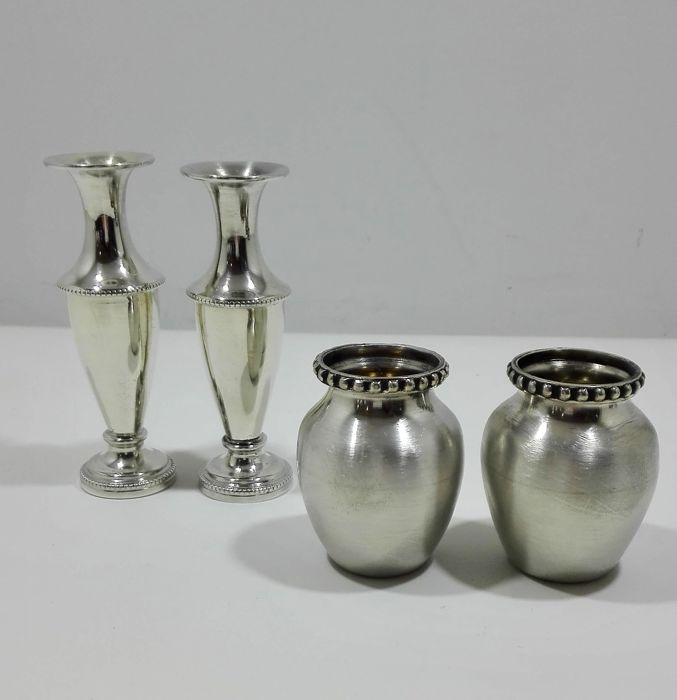 4 Miniature decorative vases in silver 925/1000 - decade of 1980