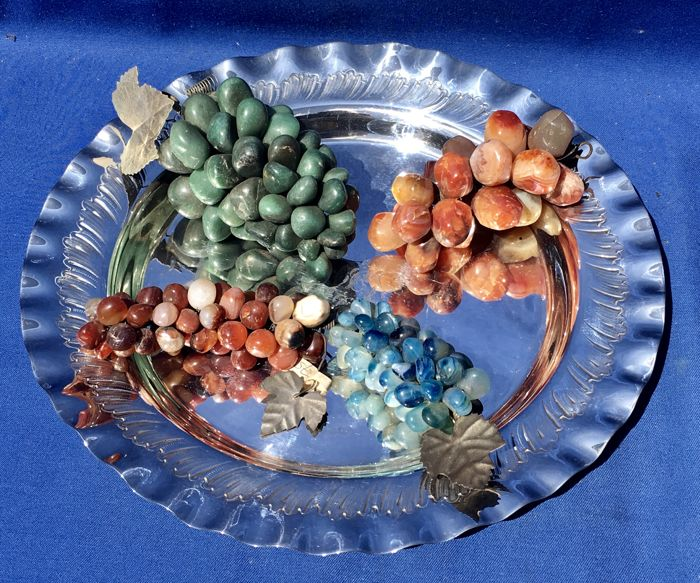A Table Center piece; Silver plated tray with five bunches of Grapes, Carnelian, Jade and Quartz