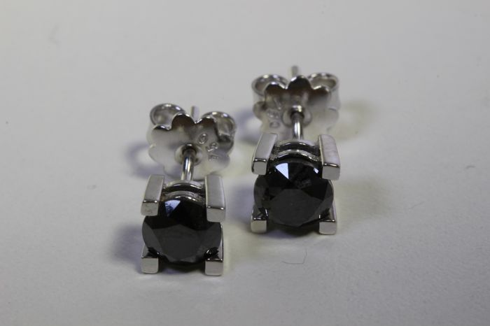 No reserve price - 18 kt white gold ear studs with Black Diamonds with 2.20 ct in total