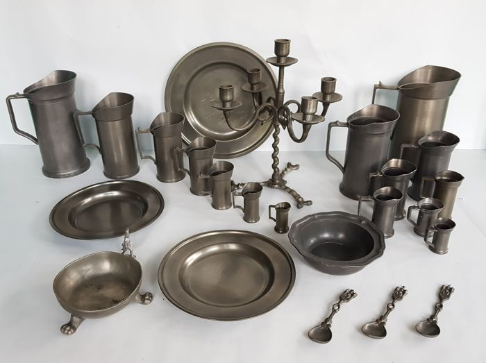 Large Collection Of Pewter Utensils; Measuring Cups, Plates, Spoons Etc    With Various