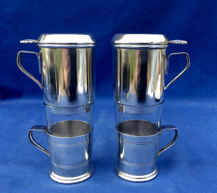 A pair silver plate Coffee Filter makers , Wiskemann, Brussels Belgium, Ca. 1940