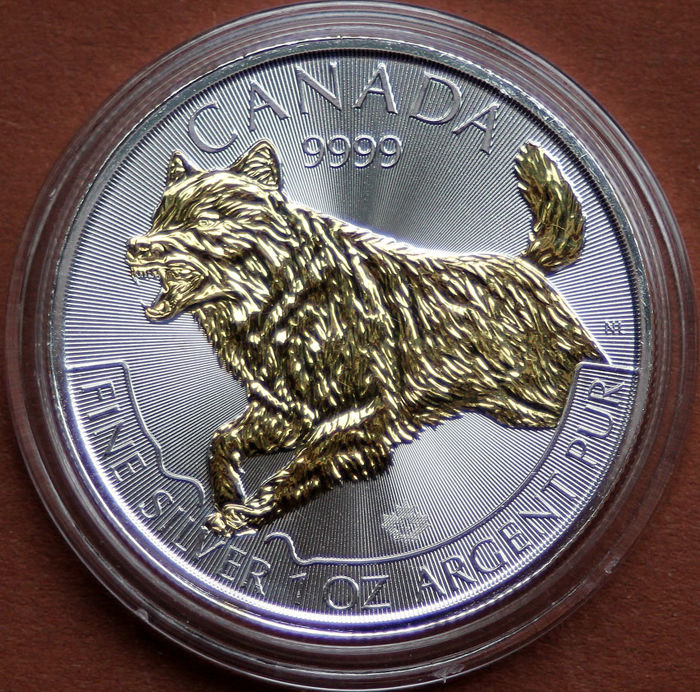 Canada - 5 Dollar 2018 - Der Wolf - mit Goldapplikation 1 Oz - Zilver