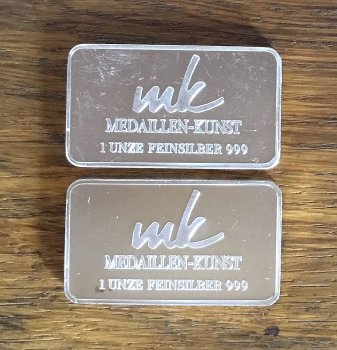 MK Medaillen-Kunst - 2 x 1 ounce - 999/1000 - Minted silver bars - Themed