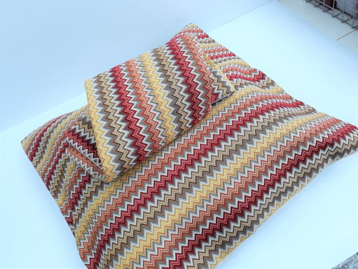 Missoni 1980, two pillowcases without padding 60 x 60 vintage, new, 100% thread dyed cotton. Great rarity