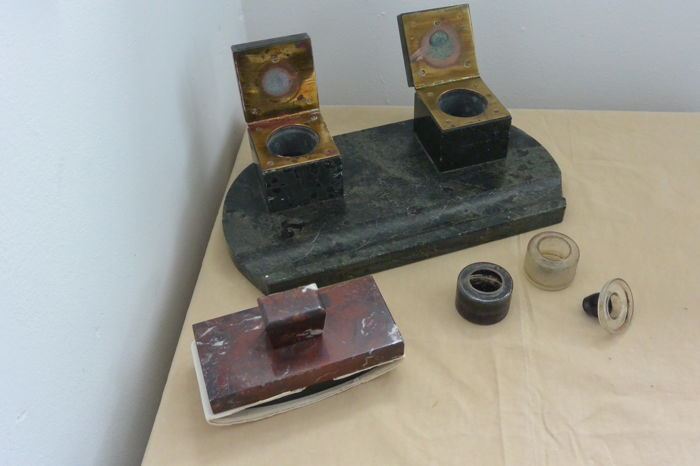 Inkstand set Art Deco marble with Ink Blotter
