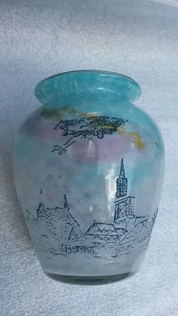Muller Fres Lunéville - Glass vase with etched decor