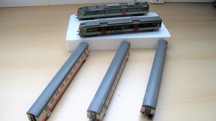 Liliput H0 - 14456/883 - Train set - two sets with motor car and four passenger cars - SBB-CFF
