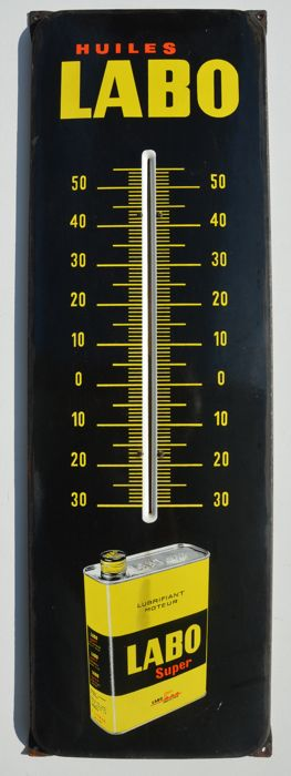 HUILES LABO - enamelled metal sign with thermometer - France, 1960s 100% original, not a replica