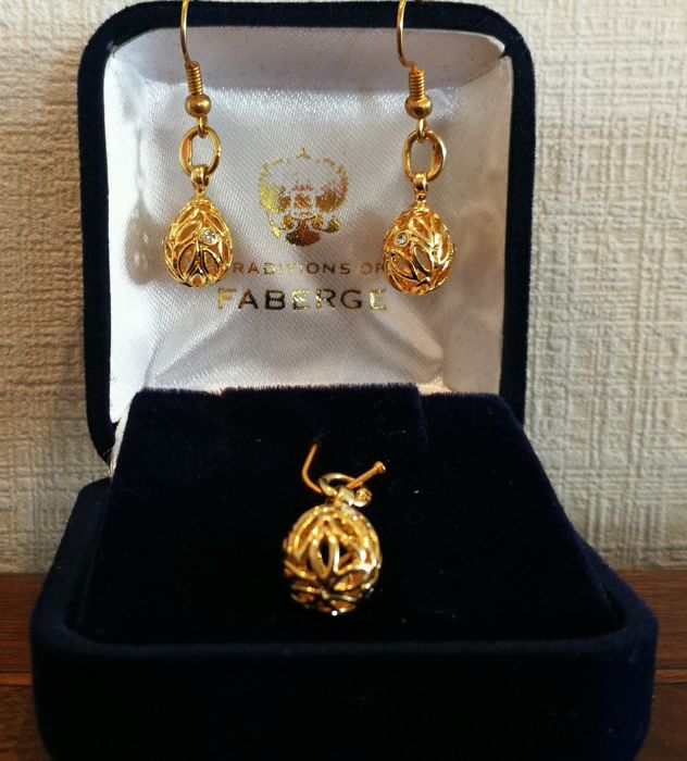 Gold plated hanger with matching earrings after Fabergé traditions