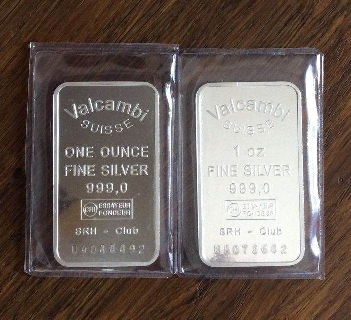 Valcambi Suisse - 2 x 1 oz - 999/1000 - Minted - Sealed - with serial number