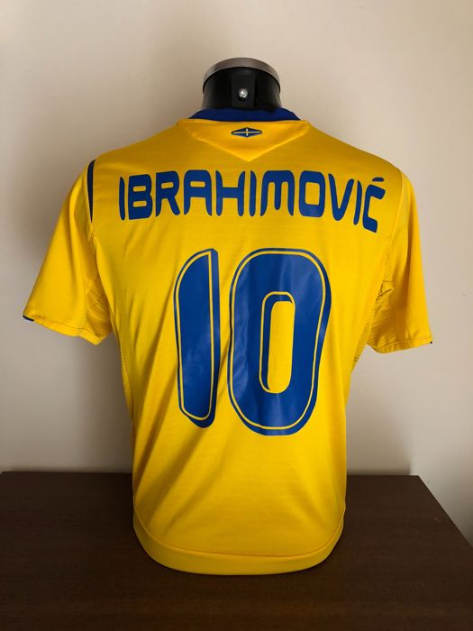Zlatan Ibrahimovic retro match prepared Sweden home world cup Germany 2006 shirt with COA