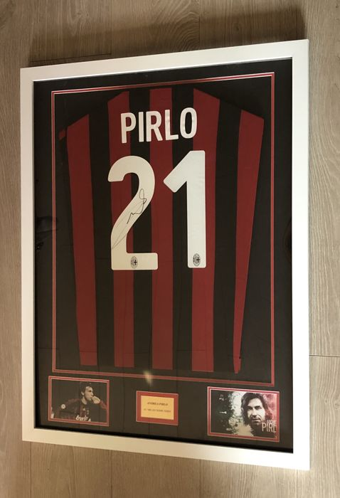 Andrea Pirlo signed framed AC Milan home shirt with photo of the moment of signing and COA