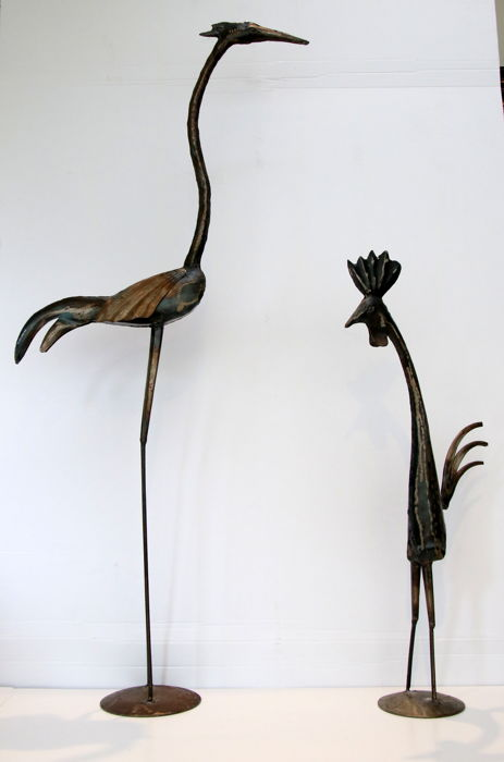 Two large wrought iron birds - heron and rooster, 89/55 cm