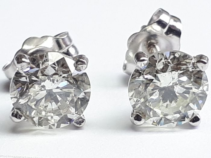 Stud earrings 2.01ct total  in 14k white gold
