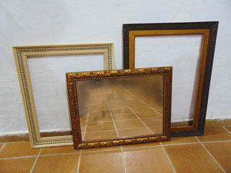 Mirror and two frames, mid 20th century