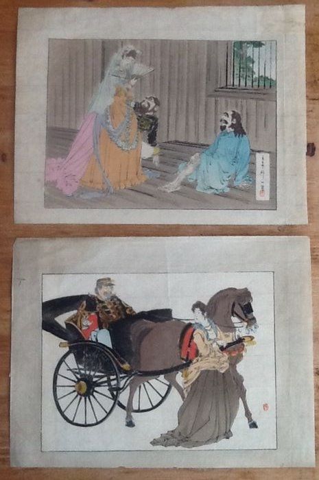 Two original colour kuchi-e woodblock prints with images of people wearing European clothing - Japan - ca. 1910