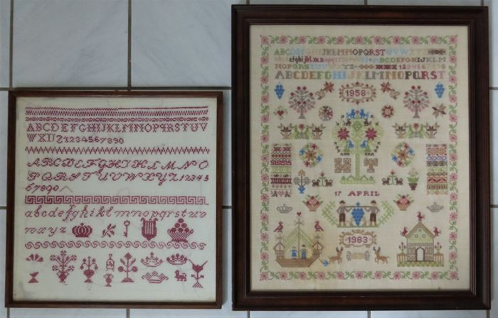 Two samplers - one colourful sampler (needlework) with dating 1983 - One sampler 1950