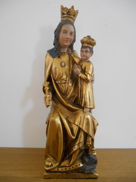 Rare, wonderful statue of Mary 'OLV van Veerle' - Flanders - circa 1900