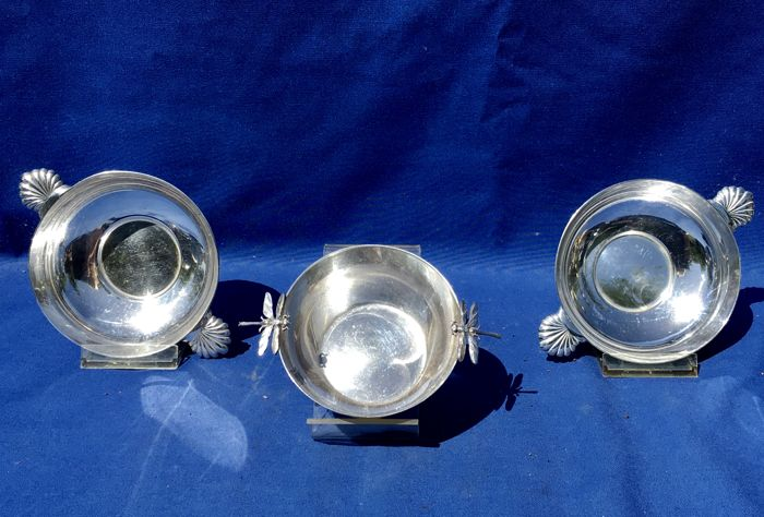Three French Art Deco Silver Plated Bowls