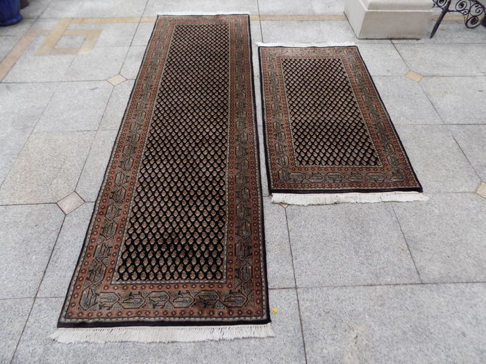 A pair of Mir runners 260 x 77 cm and 147 x 75 cm