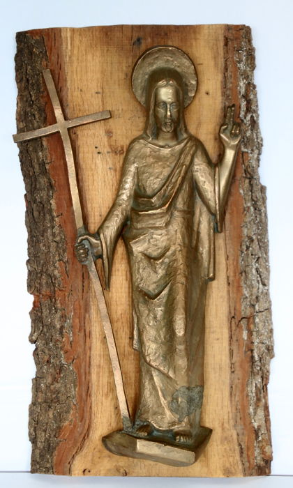 Wonderful copper sculpture of Christ on an oak plank