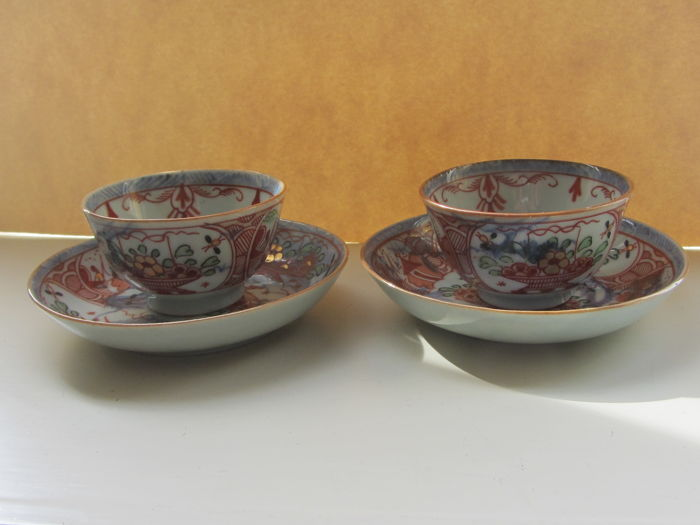 "2 ""Amsterdam Bont"" (colourful) cups and saucers - China - 18th century"