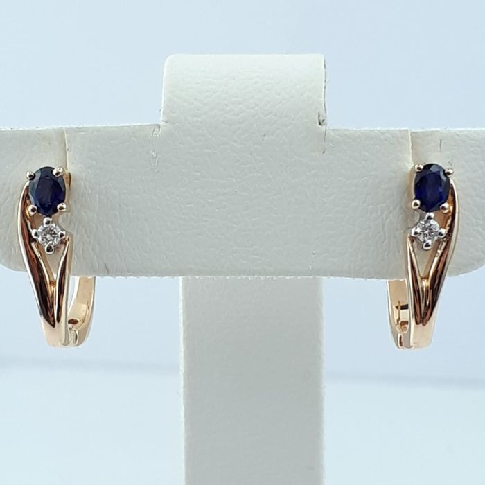 14Ct Red Gold Earrings with Diamond and Sapphire, Length:15mm, Total Weight:2.76g