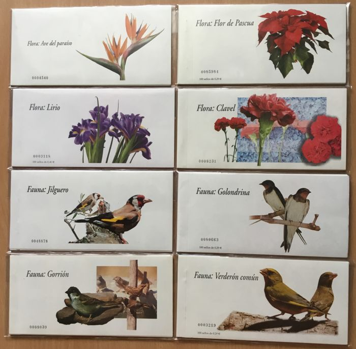 Spain 2006 - 8 booklets of 100 stamps. Flora and fauna. - Edifil 4212C/4219C