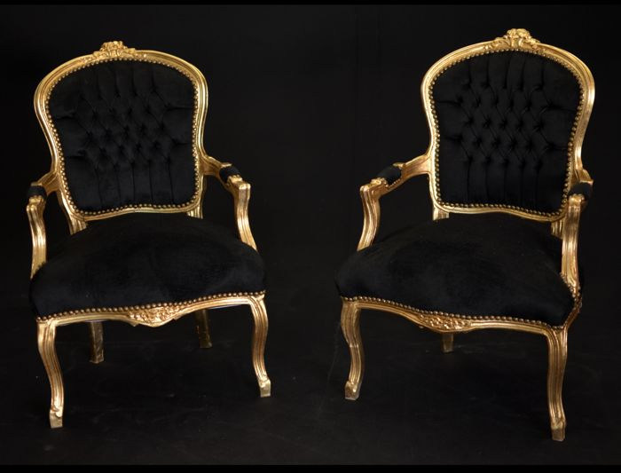 Pair of black and gold buttoned armchairs - beech wood