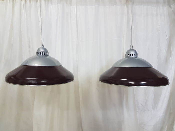 2 Pieces of industrial pool table lamps designer unknown