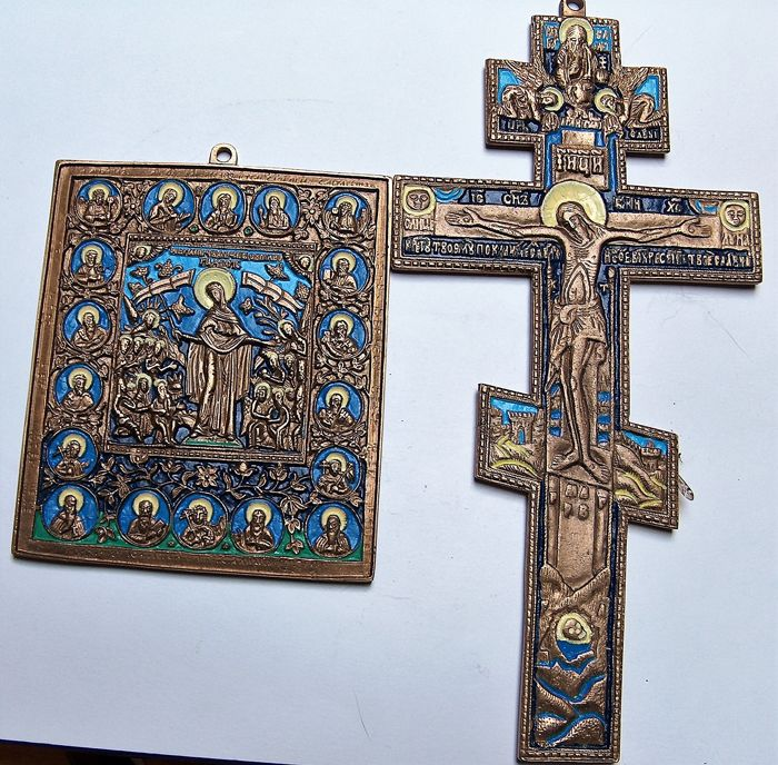 Russian Orthodox travel icons - bronze castings - All the Afflicted and Crucifix  - 19-20 th century