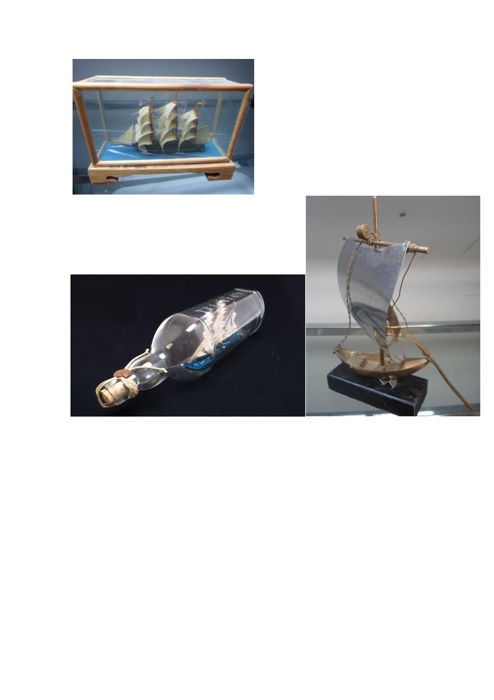 "Set of ""Rabelo"" boat; Bottle with sailboat and miniature sailboat in a glass box"