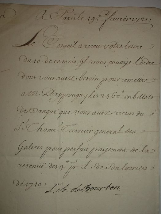 LS Prince Augustus of Bourbon Sovereign Prince of the Dombes, Count of Eu Paris 19 February 1721