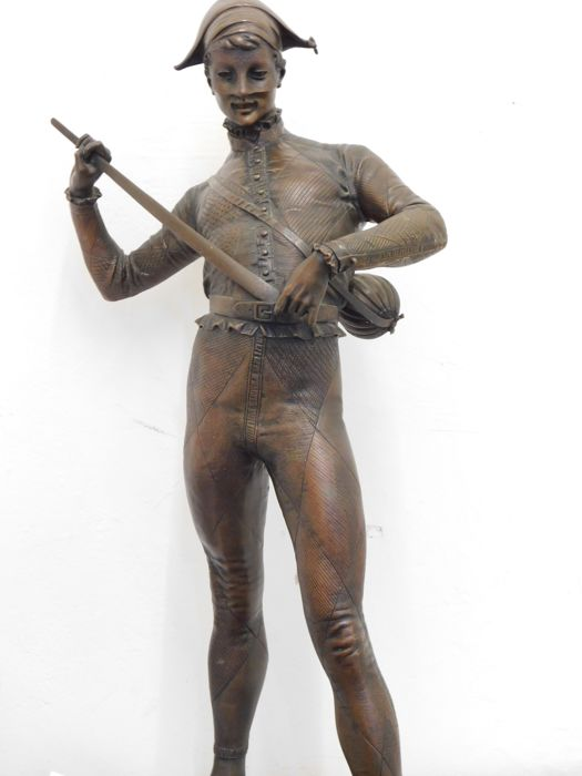Paul Dubois (1829-1905) - Harlequin - Bronze sculpture - France - 19th century