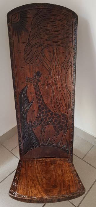 Large caretaker or palaver chair, African (Senegal) handmade chair made of precious wood